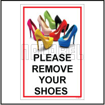 151109ML Remove Shoes Sign Name Plate & Signs