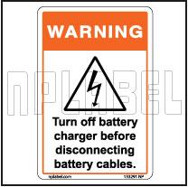 153291 Turn Off Battery Warning Sticker & Labels