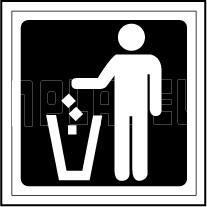 153617 Waste in Dustbin Sign Name Plate