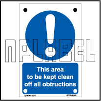 160059 Keep the area Clear Sign Sticker
