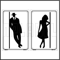 162517 Male - Female Toilets Sign Sticker SET