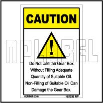 162538 Gear Box Caution Sticker