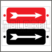 401103 Straight Direction Arrow Metal Label