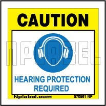 570561 Caution Wear Hearing Protection Labels