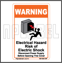581300ML Electrical Hazard Caution Metal Labels