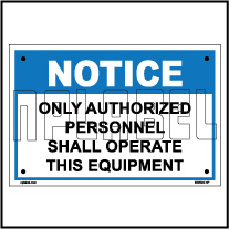 590904 Authorized Operator Instruction Name Plate