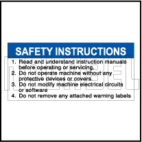590927 Safety Instructions Stickers for Machine