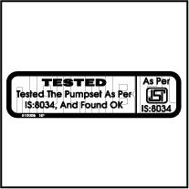 810005 Water Pump Sticker - Tested