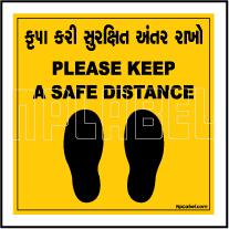 CD1964 Social Distance for 1 Person Gujarati - English Floor Sticker