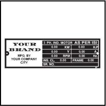 Customize Induction Motor Labels CIIM001